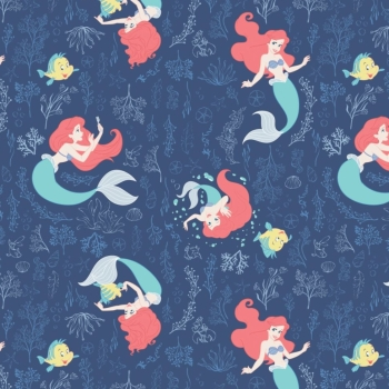 Disney The Little Mermaid Swimming in the Reef Dark Blue Ariel Flounder Seaweed Cotton Fabric