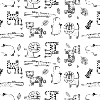 Mono Zoo Animals Lion Hippo Crocodile Tiger Wild Animal Black White Amne Organic Cotton Jersey Knit Fabric