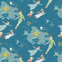 Disney Classics Peter Pan & Neverland Island Tinkerbell Wendy John Michael Flight Cotton Fabric