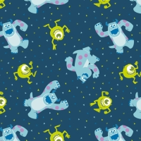 Disney Pixar Monsters, Inc. Mike and Sully in Navy Monster Character Cotton Fabric