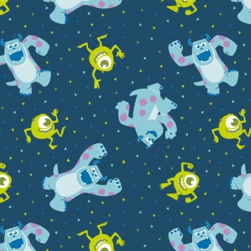 Disney Pixar Monsters, Inc. Mike and Sully in Navy Monster Character Cotton