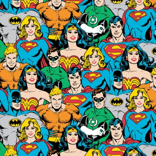 DC Superhero Crowd in Multi Packed Justice League Cotton Fabric