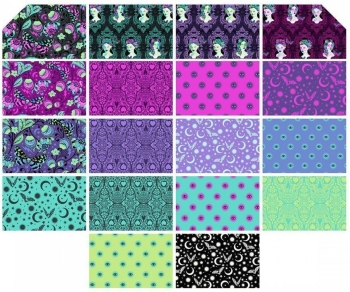 De La Luna Tula Pink 18 Fat Quarter Bundle Cotton Fabric Cloth Stack Day of the Dead Halloween Full Collection