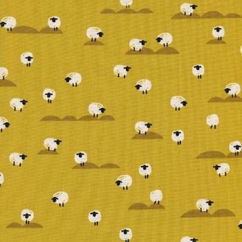 Panorama Sunrise Sheep Mustard Yellow Farm Animal Tiny Sheep Cotton Fabric by Cotton + Steel