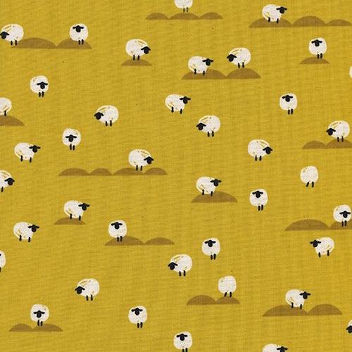 Panorama Sunrise Sheep Mustard Yellow Farm Animal Tiny Sheep Cotton Fabric
