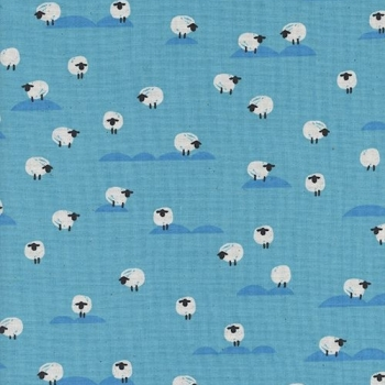Panorama Ocean Sheep Water Blue Farm Animal Tiny Sheep Cotton Fabric by Cotton + Steel