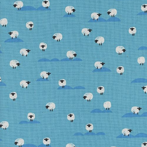 Panorama Ocean Sheep Water Blue Farm Animal Tiny Sheep Cotton Fabric by Cot
