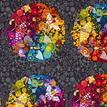 """Alison Glass Greatest Hits Remix Ex Libris Art Theory 23"""" Panel Charcoal Floral Butterfly Botanical Rainbow Cotton Fabric"""