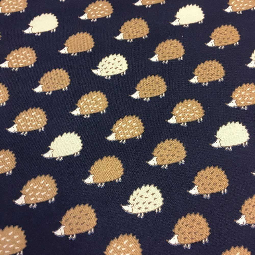 Hedgehogs on Dark Navy Hedgehog Woodland British Wildlife Cotton Fabric