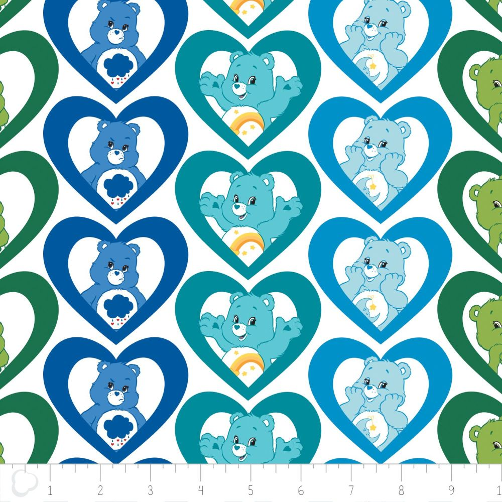 1 Metre Care Bears Cool Hearts in Turquoise Care Bear Heart Cotton Fabric