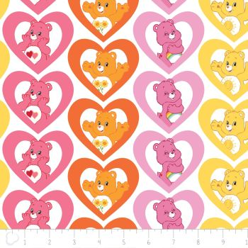 1 Metre Care Bears Warm Hearts in Pink Care Bear Heart Cotton Fabric