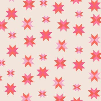 REMNANT 1 Metre Daisy Chain Quilt Block Coral Pink Patchwork Star Cotton Fabric