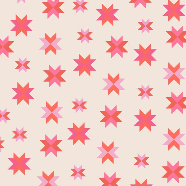REMNANT 1 Metre Daisy Chain Quilt Block Coral Pink Patchwork Star Cotton Fa
