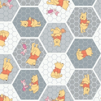 1 Metre Disney Winnie the Pooh and Friends Piglet Nursery Character Tea Time in Stone Geometric Honeycomb Hexagon Cotton Fabric