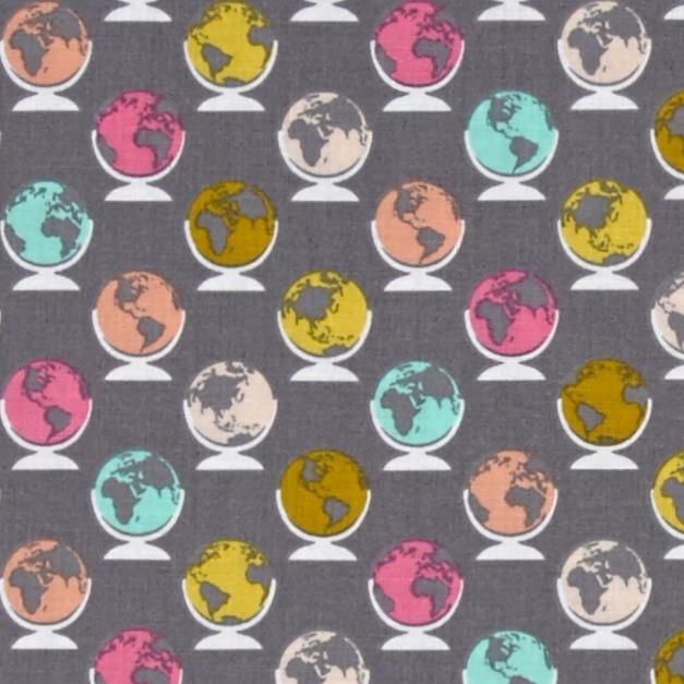 1 Metre Erin McMorris Globetrot Smoke Grey Globe World Map Travel Cotton Fa