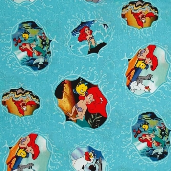 REMNANT 1 Metre Disney Princess Little Mermaid Ariel Flounder Movie Posters Teal Cotton Fabric