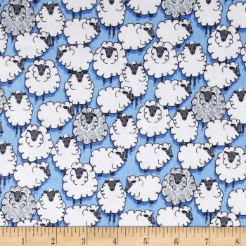 REMNANT 1 Metre Sheep Sheepish Blue Eyes on Ewe Flannel Farm Animal Brushed Cotton Fabric