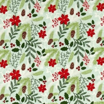 1 Metre Comfort and Joy Main Cream Christmas Poinsettia Holly Floral Holiday Winter Red Cotton Fabric
