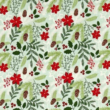 1 Metre Comfort and Joy Main Cream Christmas Poinsettia Holly Floral Holida