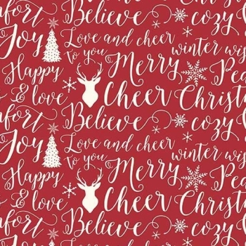 1 Metre Comfort and Joy Words Typography Christmas Text Holiday Winter Red Cotton Fabric