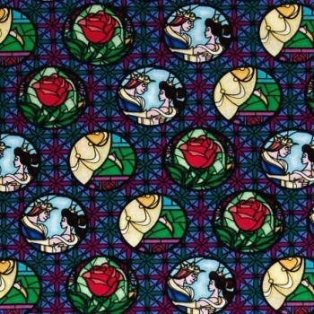 1 Metre Disney Princess Beauty and the Beast Stained Glass Badges Multi Cotton Fabric