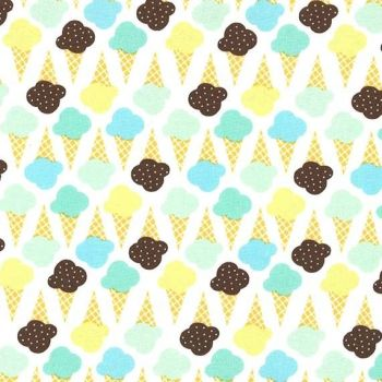 Game of Cones Icing Blue Ice Cream You Scream Cone Icecream Scoop Cotton Fabric