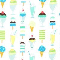 Get The Scoop Icing Blue Ice Cream You Scream Cone Icecream Scoop Sundae Cotton Fabric