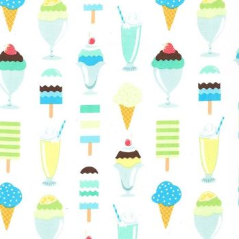 Get The Scoop Icing Blue Ice Cream You Scream Cone Icecream Scoop Sundae Cotton Fabric