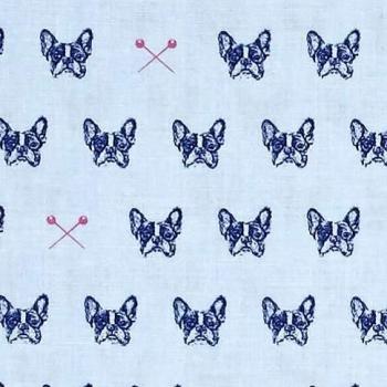 1 Metre French Bulldog Blue Carolina Edie Blue Bull Dog Pins Cotton Fabric