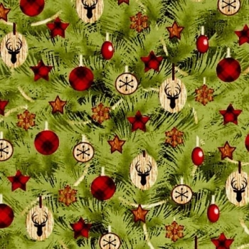 1 Metre Winter's Friends Allover Tree Christmas Tree Stag Plaid Star Baubles Decorations Festive Cotton Fabric