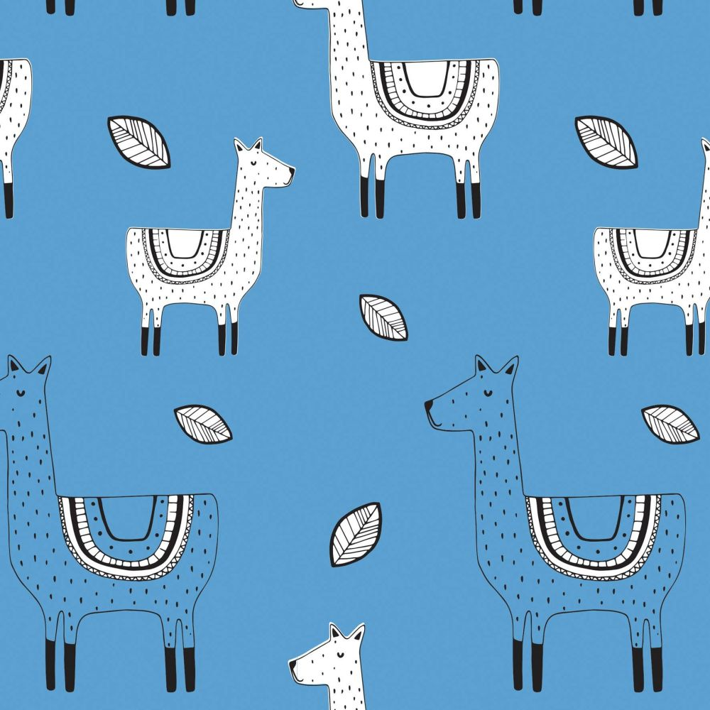 1 Metre Llama Blue Llamas Alpaca Amne Organic Cotton Jersey Knit Fabric