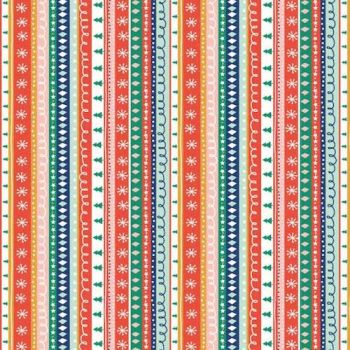 REMNANT 1 Metre Festive Friends Christmas Stripe Trees Xmas Winter Cotton Fabric