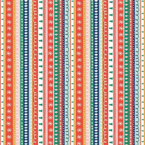 REMNANT 1 Metre Festive Friends Christmas Stripe Trees Xmas Winter Cotton F
