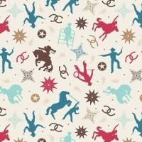Boots & Spurs Main Cream Rodeo Wild West Cowboy Horseshoe Horses Cotton Fabric