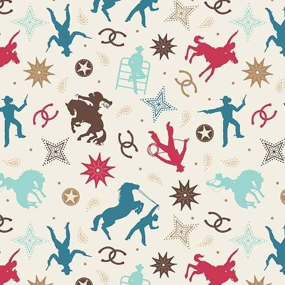 Boots & Spurs Main Cream Rodeo Wild West Cowboy Horseshoe Horses Cotton Fab