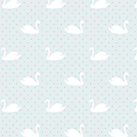 Love Story Swans Aqua Swan Bird Silhouette on Polka Dots Cotton Fabric