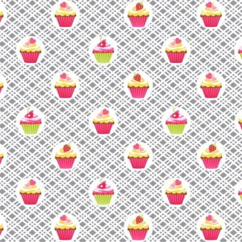 DESTASH 4.35m Length Cupcake Cafe Cupcakes Geo Plaid Gray Baking Cake Sweet Treat Pink Cotton Fabric