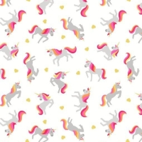 Unicorn Small Things Mystical and Magical Unicorns Cream Metallic Gold Hearts Cotton Fabric