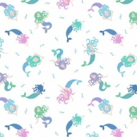 Mermaid Small Things Mystical and Magical Mermaids Cream Metallic Blue Cotton Fabric