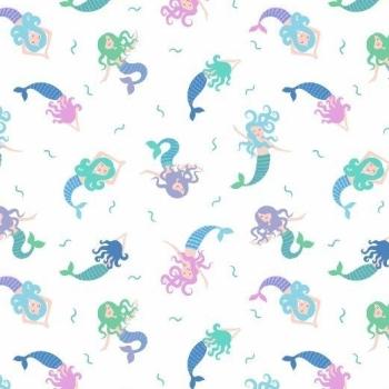 Mermaid Small Things Mystical and Magical Mermaids Cream Metallic Blue Cotton Fabric