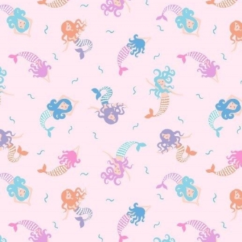 Mermaid Small Things Mystical and Magical Mermaids Pale Pink Metallic Silver Cotton Fabric