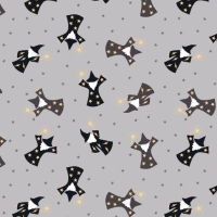 Wizard Small Things Mystical and Magical Wizards Grey Metallic Gold Cotton Fabric