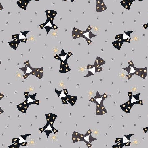 Wizard Small Things Mystical and Magical Wizards Grey Metallic Gold Cotton
