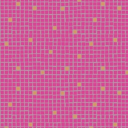 Little Tiles Pink Geometric Lindos Square Grid Blender Metallic Gold Cotton