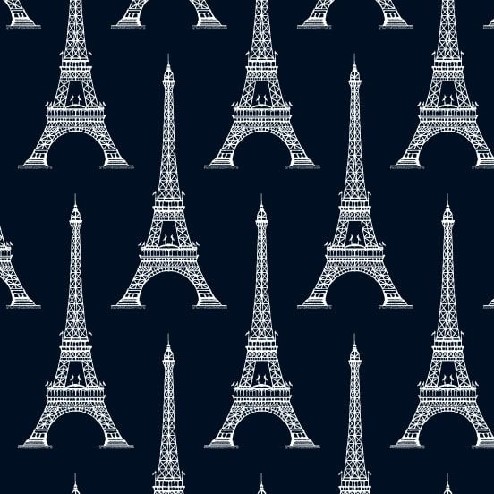 Love from Paris Eiffel Tower Navy Silhouette France Europe Cotton Fabric