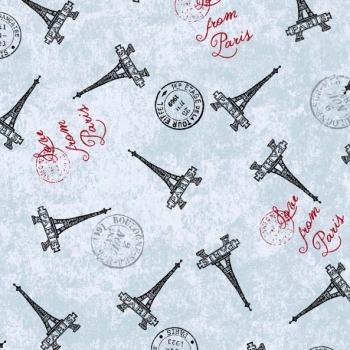 Love from Paris Stamps Eiffel Tower Travel France Europe Cotton Fabric