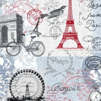 Love from Paris Main Landmark Stamps Eiffel Tower Travel France Europe Cotton Fabric