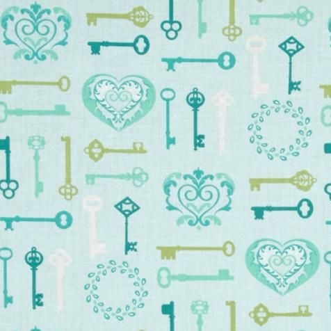 1 Metre Key To My Heart Keys Aqua Lime Lovehearts Scroll Cotton Fabric