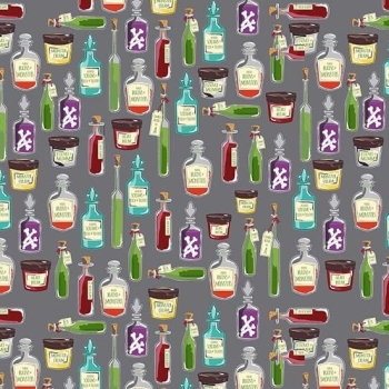 Halloween Spooky Haunted House Haunted Apothecary Potion Poison Bottle Cotton Fabric