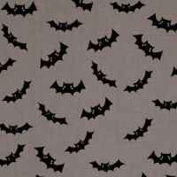 Halloween Bat Glow in the Dark Bats Gray Spooky Cotton Fabric